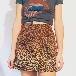 Urban Outfitters Ecote Satin Leopard Mini Skirt